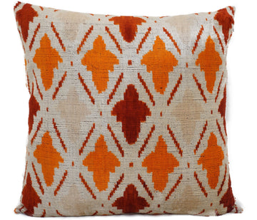 ORANGE ROUGHY- IKAT SILK/VELVET PILLOW