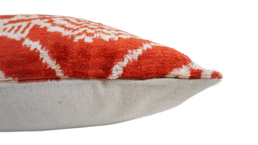 BURNT SIENNA- IKAT SILK/VELVET PILLOW