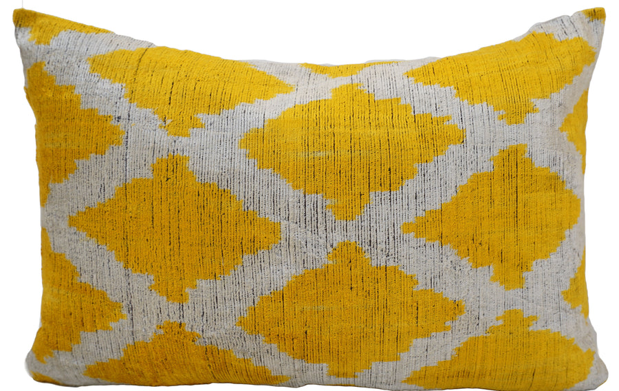 CORN YELLOW- IKAT SILK/VELVET PILLOW