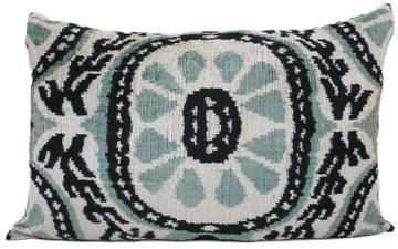 MALIBU BLUE- IKAT SILK/VELVET PILLOW