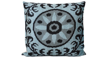 BLUE LINE- IKAT SILK/VELVET PILLOW