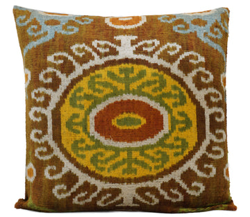 TENNE BROWN EYES- IKAT SILK/VELVET PILLOW