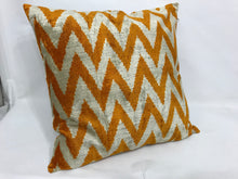 Load image into Gallery viewer, RICH GOLD CHEVRON - IKAT SILK/VELVET PILLOW