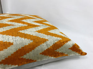 RICH GOLD CHEVRON - IKAT SILK/VELVET PILLOW
