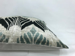 EDWARD LEAFS - IKAT SILK/VELVET PILLOW