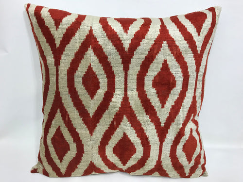 BURNT UMBER CLASSIC - IKAT SILK/VELVET PILLOW