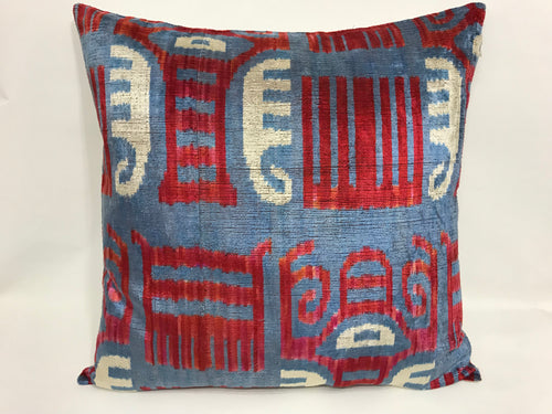 THE WHITE ELEPHANT - IKAT SILK/VELVET PILLOW