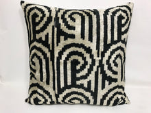 Load image into Gallery viewer, BLACK PEARL BOYNUZ L- IKAT SILK/VELVET PILLOW
