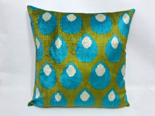 OLIVE DRAB SHELLS - IKAT SILK/VELVET PILLOW