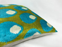 Load image into Gallery viewer, OLIVE DRAB SHELLS - IKAT SILK/VELVET PILLOW