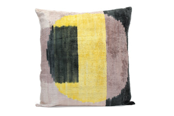 Yellow Moon- IKAT SILK/VELVET PILLOW