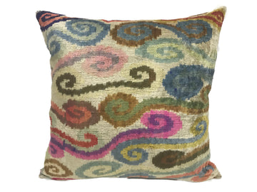 COLORFUL CLOUDS- IKAT SILK/VELVET PILLOW