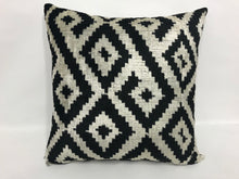 Load image into Gallery viewer, SILVER BLACK HAZE - IKAT SILK/VELVET PILLOW