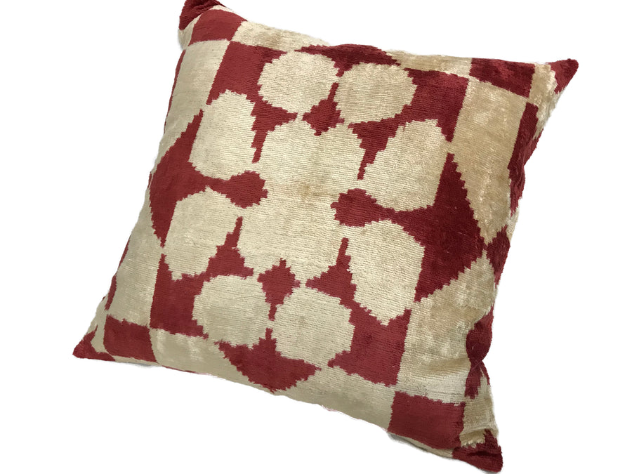 MULE  FAWN - IKAT SILK/VELVET PILLOW