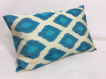 Load image into Gallery viewer, EASTERN BLUE  - IKAT SILK PILLOW
