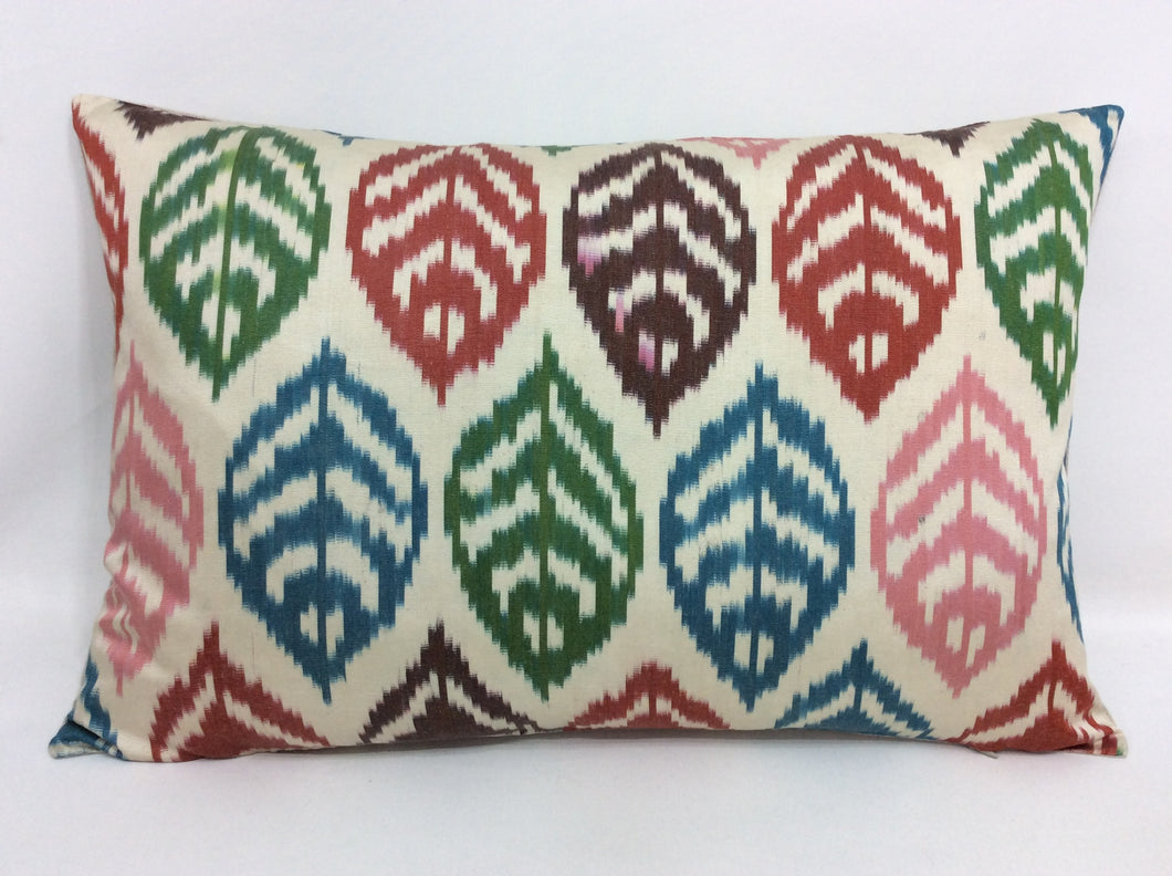 MULTI COLOR LEAVES - IKAT SILK PILLOW