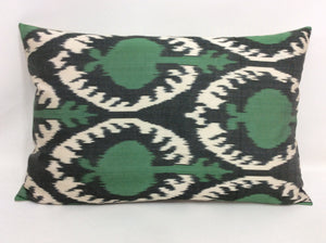 GREEN POMEGRANATE - IKAT SILK PILLOW