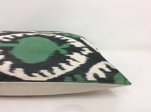 Load image into Gallery viewer, GREEN POMEGRANATE - IKAT SILK PILLOW
