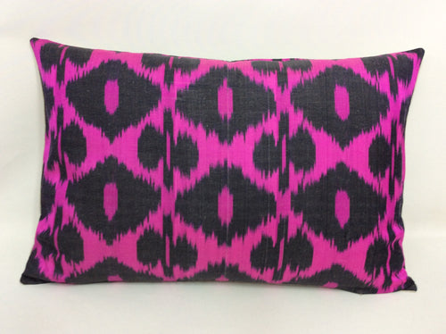 SHOCKING PINK - IKAT SILK PILLOW