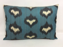 Load image into Gallery viewer, SMALT BLUE - IKAT SILK PILLOW