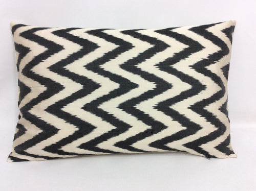 BLACK CHEVRON CLASSIC - IKAT SILK PILLOW
