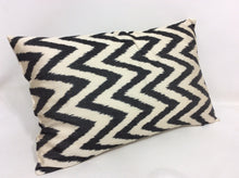 Load image into Gallery viewer, BLACK CHEVRON CLASSIC - IKAT SILK PILLOW