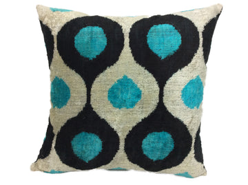 SUMMER SKY- IKAT SILK/VELVET PILLOW