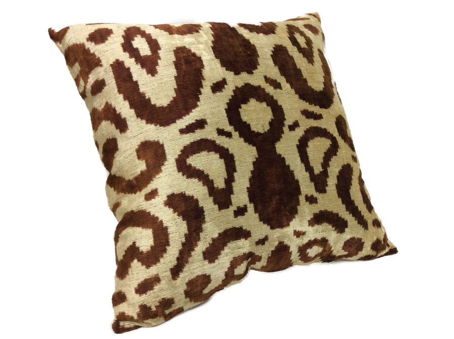 DONKEY BROWN- IKAT SILK/VELVET PILLOW
