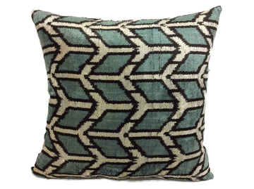 ALLPORTS BLUE- IKAT SILK/VELVET PILLOW