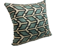Load image into Gallery viewer, ALLPORTS BLUE- IKAT SILK/VELVET PILLOW