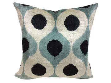 PARADISO BLUE- IKAT SILK/VELVET PILLOW