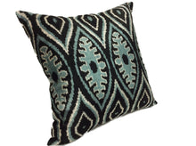 Load image into Gallery viewer, GREEN LEAF - IKAT SILK/VELVET PILLOW