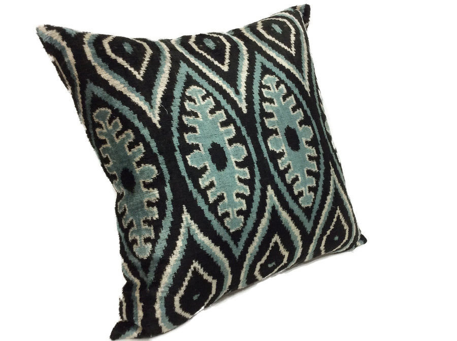 GREEN LEAF - IKAT SILK/VELVET PILLOW