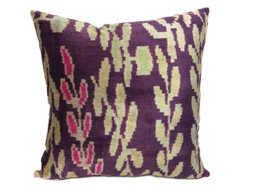 INDIGO LEAF- IKAT SILK/VELVET PILLOW
