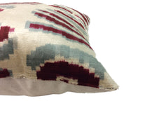 Load image into Gallery viewer, FALU RED- IKAT SILK/VELVET PILLOW