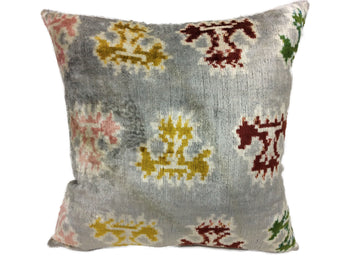COLORED LEAF - IKAT SILK/VELVET PILLOW