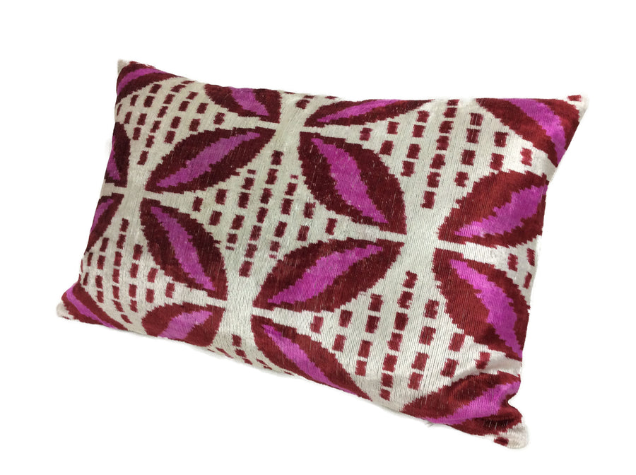 CLARET RED - IKAT SILK/VELVET PILLOW