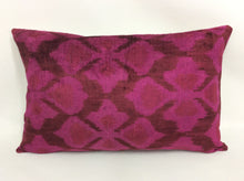 Load image into Gallery viewer, MAROON FLUSH - IKAT SILK/VELVET PILLOW