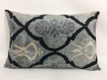 Load image into Gallery viewer, OSLO GRAY PERDE - IKAT SILK/VELVET PILLOW