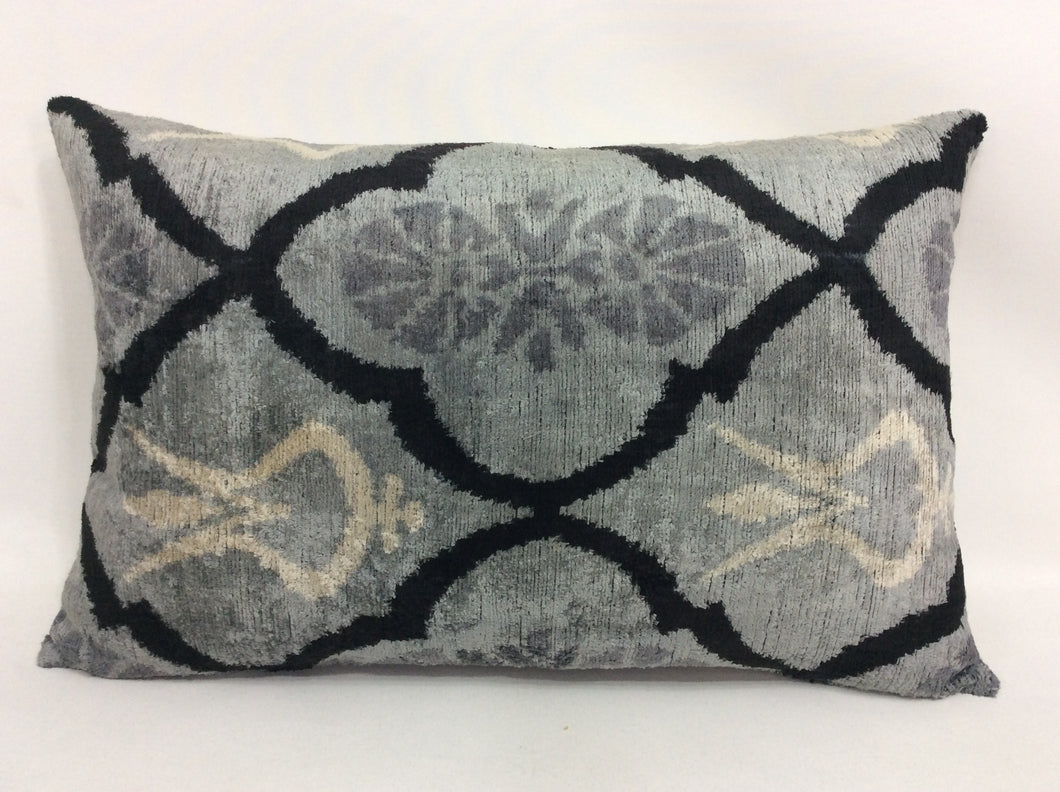 OSLO GRAY PERDE - IKAT SILK/VELVET PILLOW