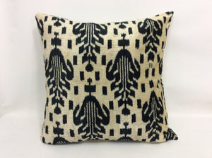 HEAVY METAL LEAFS - IKAT SILK/VELVET PILLOW
