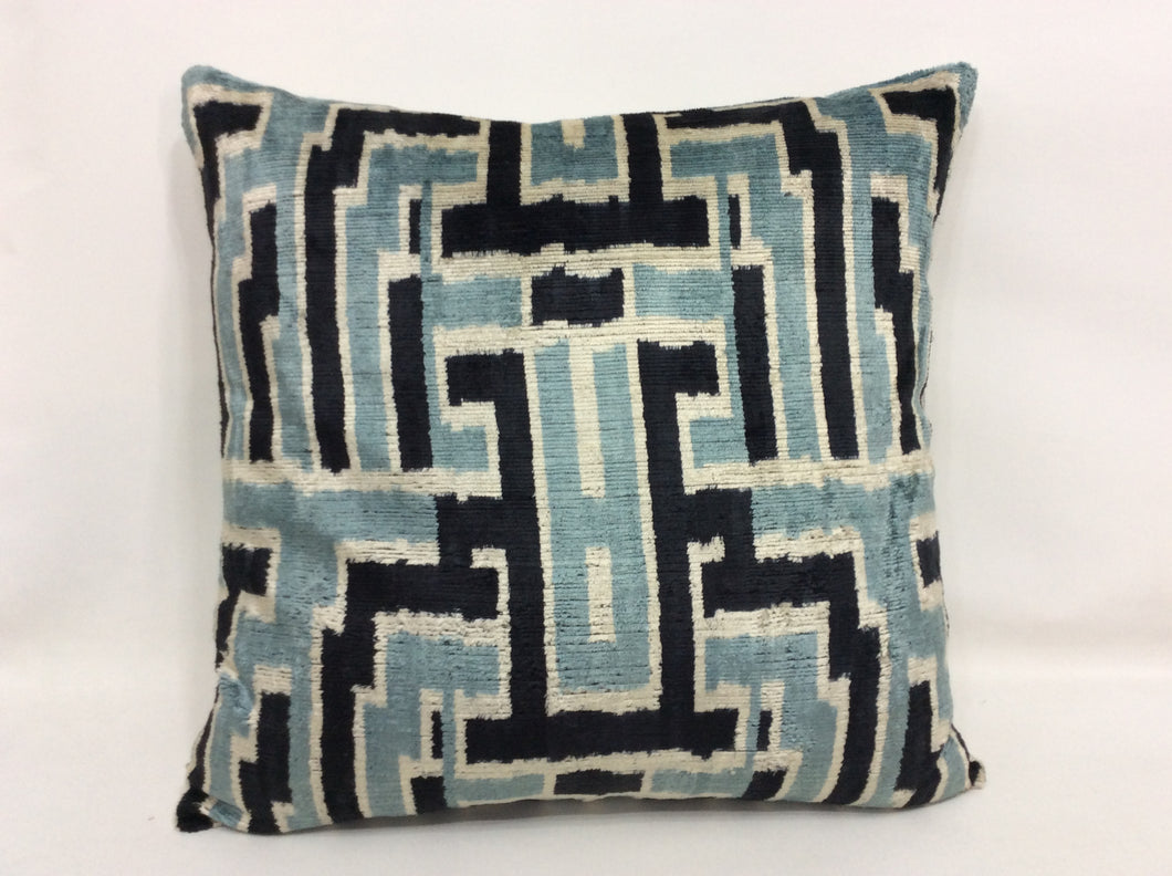 GULF STREAM MAZE - IKAT SILK/VELVET PILLOW