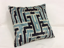 Load image into Gallery viewer, GULF STREAM MAZE - IKAT SILK/VELVET PILLOW