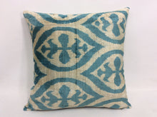 Load image into Gallery viewer, WEDGE WOOD BLUE - IKAT SILK/VELVET PILLOW