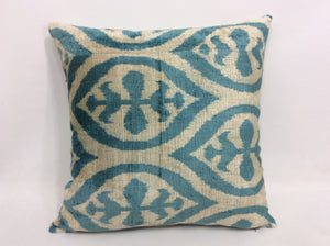 WEDGE WOOD BLUE - IKAT SILK/VELVET PILLOW