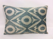 Load image into Gallery viewer, SLATE GREY  - IKAT SILK/VELVET PILLOW