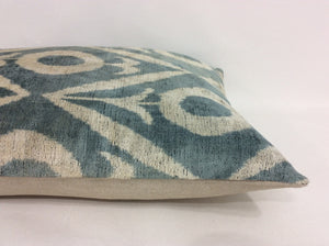 SLATE GREY  - IKAT SILK/VELVET PILLOW