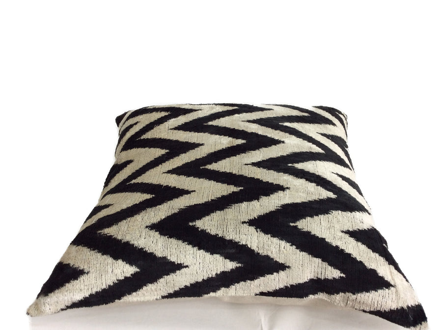 BLACK AND WHITE ZIGZAG- IKAT SILK/VELVET PILLOW