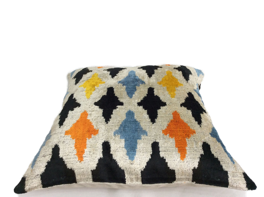 COLORFUL PEOPLE - IKAT SILK/VELVET PILLOW