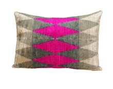 Load image into Gallery viewer, HEART RHYTHM- IKAT SILK/VELVET PILLOW